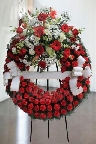 Corona Funeraria Roja-Blanca - 802